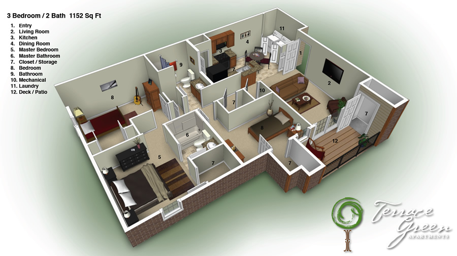 Floor plans for 3 bedroom 2 bathroom